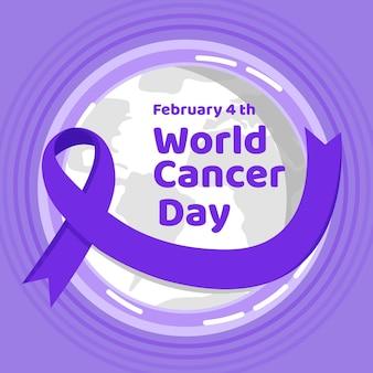 Ruban de jour du cancer avec globe terrestre