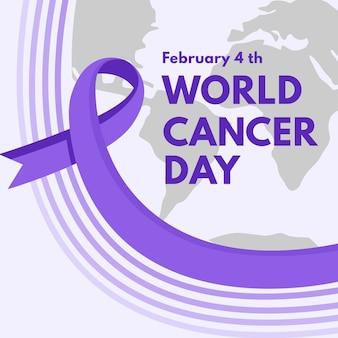 Ruban de jour du cancer avec texte