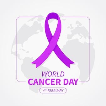 Ruban de la journée du cancer sur la carte du monde