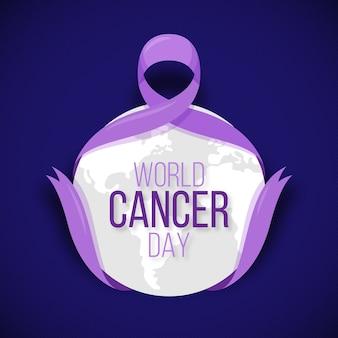 Ruban de la journée mondiale du cancer design plat