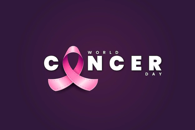 Ruban de la journée mondiale du cancer réaliste avec texte