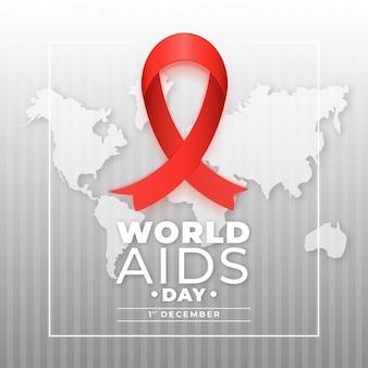 Ruban de la journée mondiale du sida sur la carte du monde