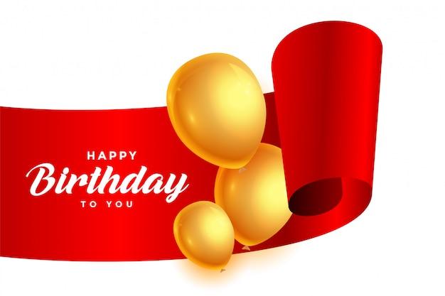 Ruban de joyeux anniversaire avec des ballons dorés