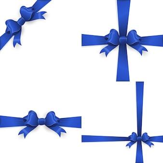 Ruban avec noeud bleu sur fond blanc.