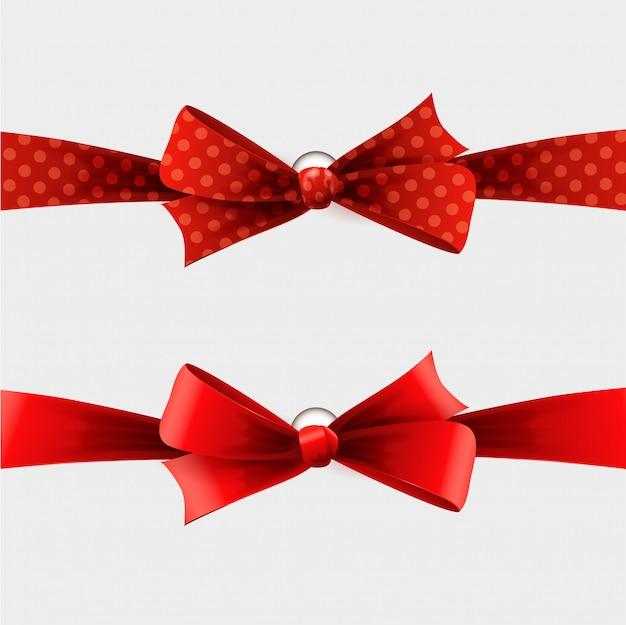 Ruban et noeud à pois rouges