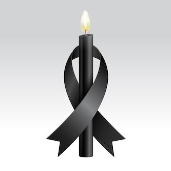 Ruban noir et bougies noires en deuil