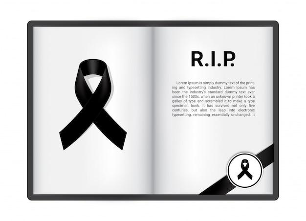 Ruban noir sur le livre ouvert de blanck