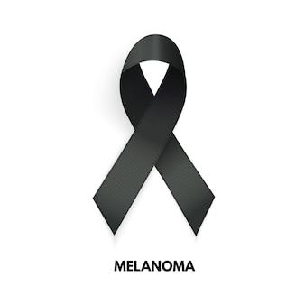 Ruban noir. signe de cancer du mélanome. illustration