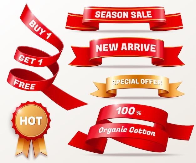 Ruban d'offre commerciale et collection de badges de couleur rouge et dorée, illustration 3d