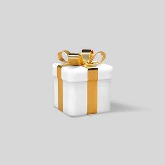 Ruban d'or enveloppé de boîte-cadeau 3d