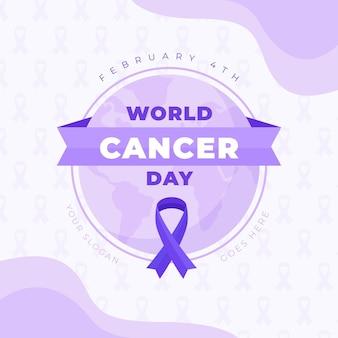 Ruban plat du jour du cancer sur le globe terrestre