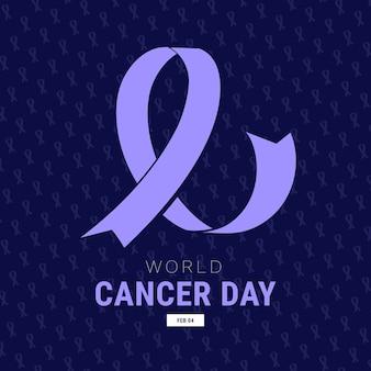 Ruban plat de la journée mondiale du cancer