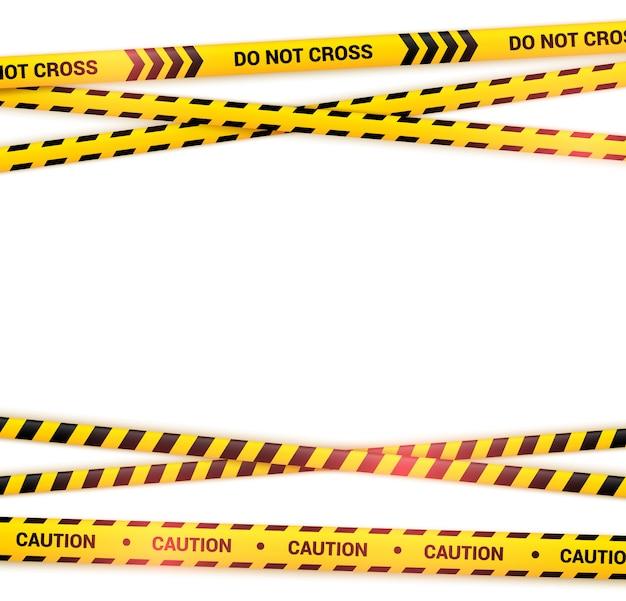 Ruban de prudence croisé avec effet de lumière. lignes d'avertissement jaunes et noires, bandes de police abstraites. rubans jaunes sur illustration isolé sur blanc.