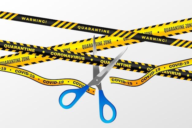 Ruban de quarantaine coupe réaliste avec des ciseaux