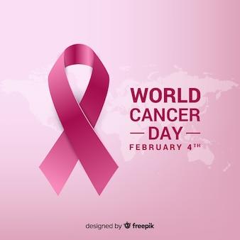 Ruban réaliste fond de la journée mondiale du cancer