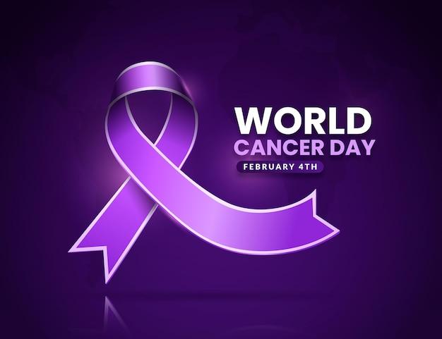 Ruban réaliste de la journée mondiale du cancer