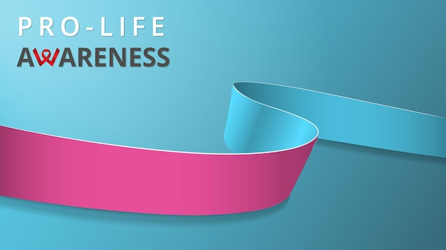 Ruban rose et bleu réaliste. affiche du mois de sensibilisation pro-vie. illustration vectorielle. concept de solidarité de la journée mondiale pro-vie. fond bleu. symbole de l'élargissement génital, infertilité.