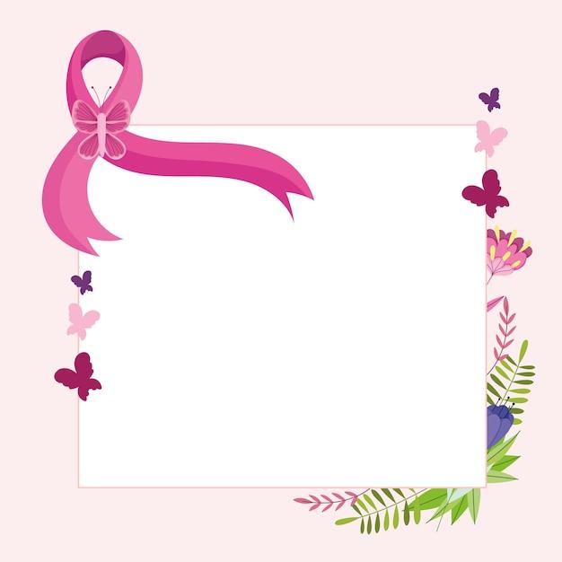 Ruban rose de cancer du sein avec illustration d'étiquette de décoration florale de fleurs de papillon