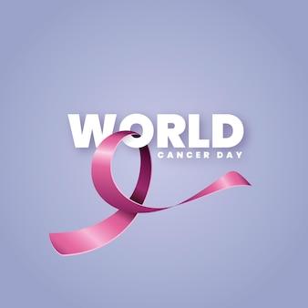 Ruban rose réaliste de la journée mondiale du cancer