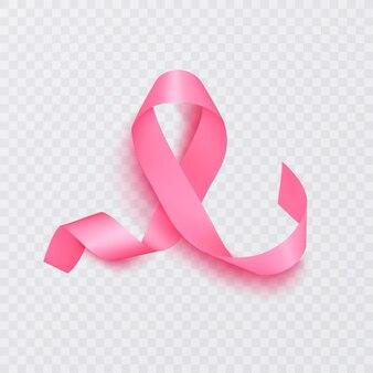 Ruban rose réaliste, symbole de sensibilisation au cancer du sein