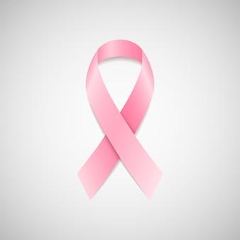 Ruban rose de sensibilisation au cancer du sein. ruban sur fond clair.
