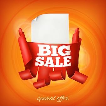 Ruban rouge avec autocollant en papier. modèle de grande vente avec un espace pour le texte.