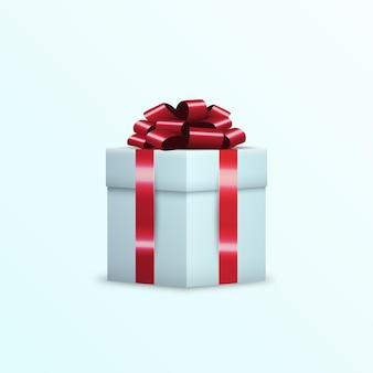 Ruban rouge enveloppé de boîte-cadeau 3d