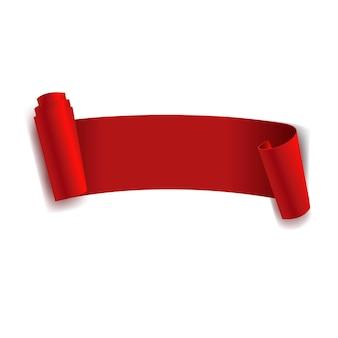 Ruban rouge isolé sur fond blanc avec filet de dégradé