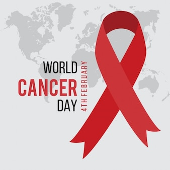 Ruban rouge journée mondiale du cancer sur la carte du monde