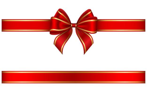 Ruban rouge et noeud avec bordure dorée