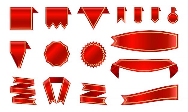 Ruban rouge satiné et étiquettes avec cadre doré.