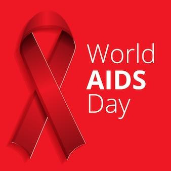 Ruban rouge sida fond de jour, style cartoon