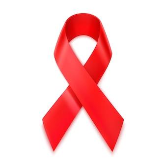 Ruban rouge vih, symbole de la journée mondiale du sida, 3d réaliste