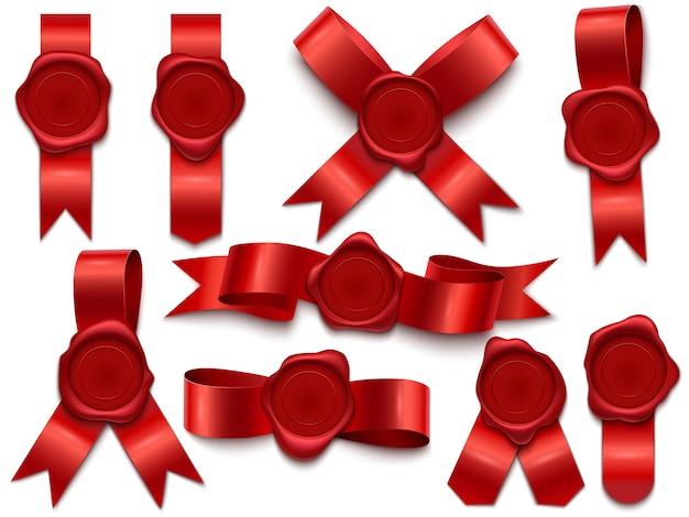 Ruban de sceau de cire. timbres de cire sur des rubans, cachet postal de la lettre du courrier royal et cachets de cire premium isolés jeu d'illustration 3d