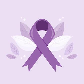 Ruban de sensibilisation à la journée mondiale contre le cancer.