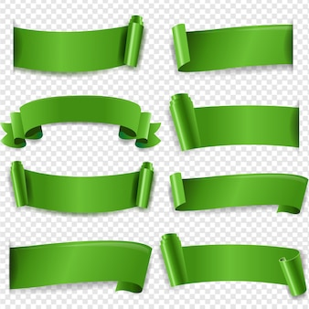 Ruban de soie vert isolé fond transparent avec filet de dégradé,