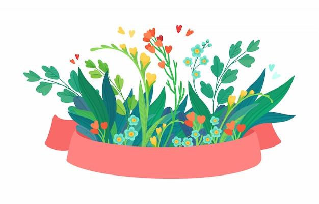 Ruban vector rose avec des fleurs