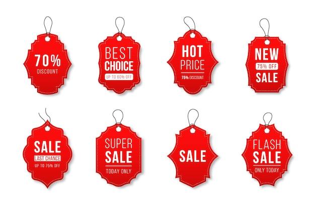 Ruban vente badges bannières prix étiquettes nouvelle collection d'offres en rouge