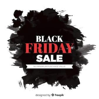 Ruban de vente noir vendredi aquarelle