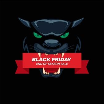 Ruban de vente vendredi noir sur tête de panthère noire