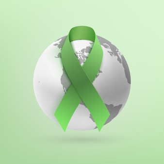 Ruban vert avec l'icône de la terre monochrome isolé sur fond vert.