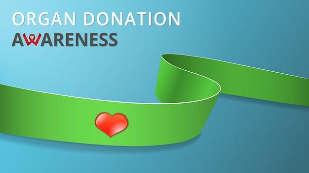 Ruban vert lime réaliste affiche du mois de don d'organes de sensibilisation illustration vectorielle