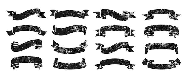 Ruban vintage icône grunge vide jeu d'encre ruban