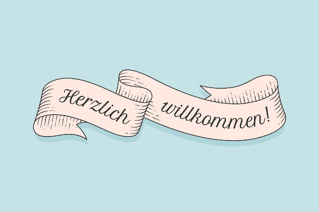 Ruban vintage old school avec texte en allemand herzlich wllkommen