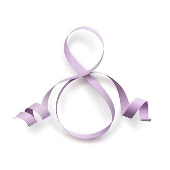 Ruban violet en forme de numéro 8 isolé sur fond blanc.