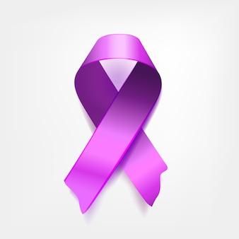 Ruban violet symbolique sur fond blanc. le problème de l'épilepsie et la journée de l'esprit, journée commémorative de la maladie d'alzheimer