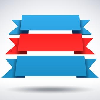 Rubans 3d bleus et rouges