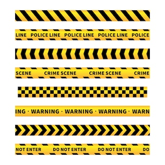 Rubans d'avertissement jaune et noir, bordures sans couture sur blanc