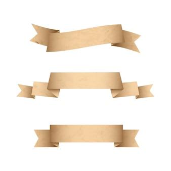 Rubans de bannières de papier grunge vintage isolés