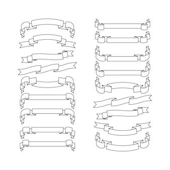 Rubans blancs avec des icônes de contour noir